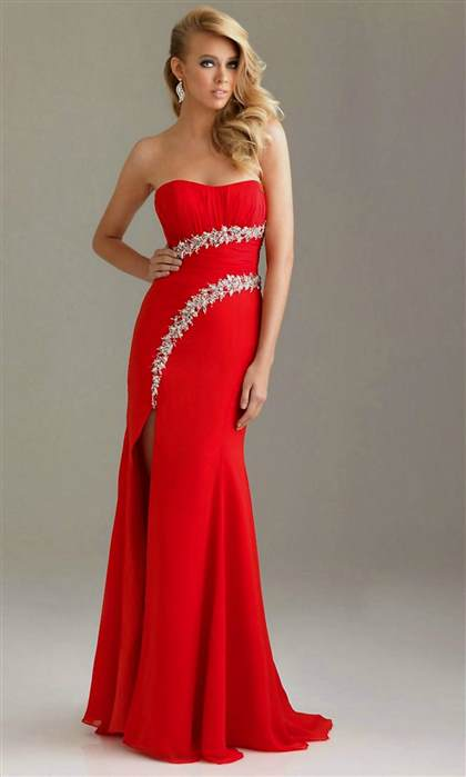 long red strapless prom dresses 2017-2018