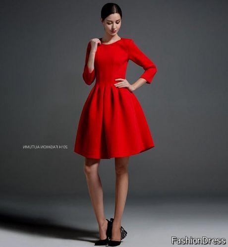 long sleeve short red dresses 2017-2018