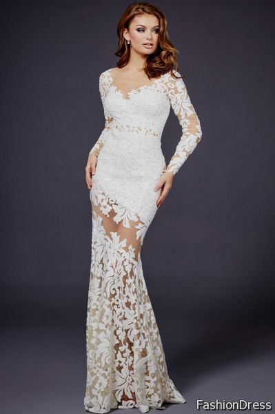 long white lace dress with sleeves 2017-2018