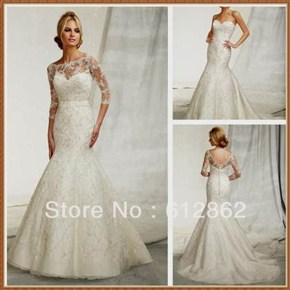 mermaid wedding dresses with 3/4 sleeves 2017-2018