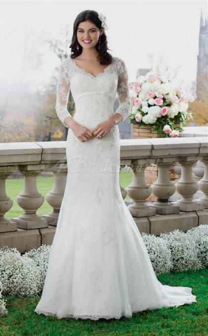 mermaid wedding dresses with 3/4 sleeves 2017-2018