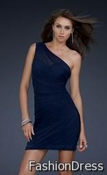 navy blue one shoulder cocktail dress 2017-2018