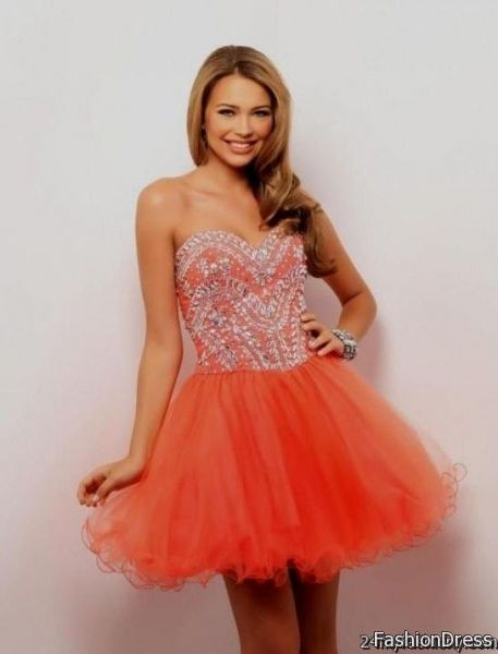 Neon short coral prom dresses pictures