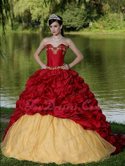 ce9ed934186 red and gold quinceanera dresses 2017-2018