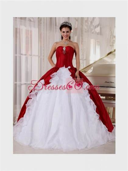 Red And White Ball Gown Wedding Dresses 2018
