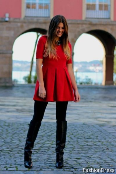 Red Dress Black Tights Boots 2017 2018 B2b Fashion