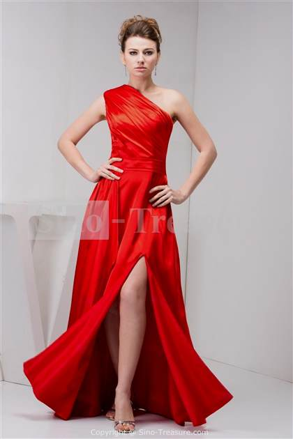 red homecoming dresses one shoulder 2017-2018