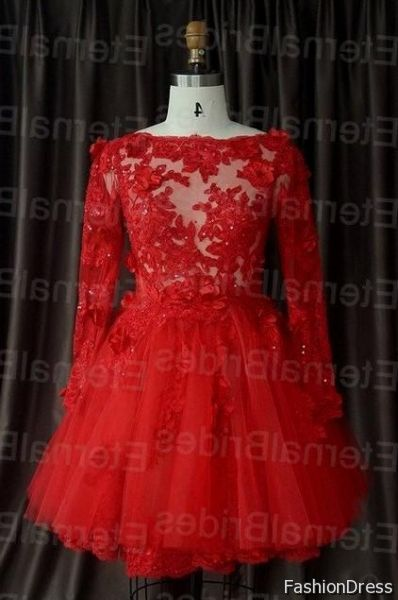 red prom dresses with sleeves cocktail