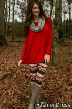 red sweater dress with leggings 2017-2018