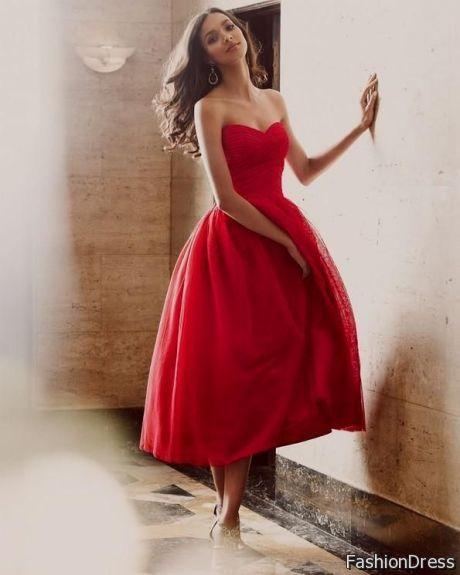 red tea length prom dresses 2017-2018