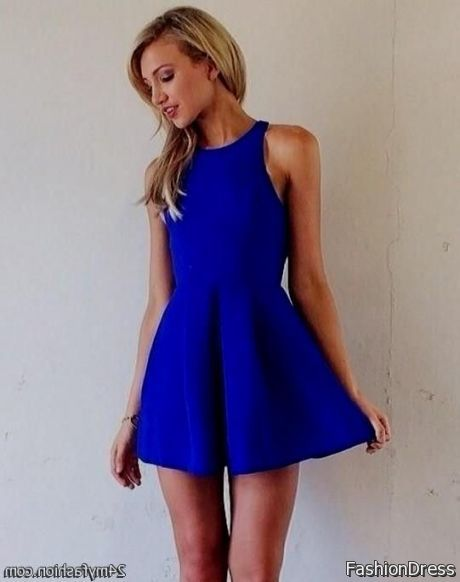 royal blue skater dress outfit 2017-2018