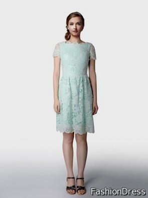 short emerald green lace bridesmaid dresses 2017-2018