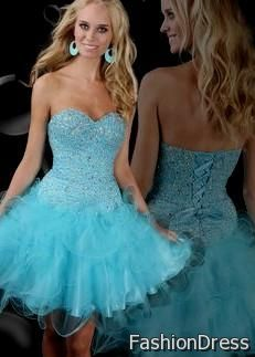 short light blue homecoming dresses with straps 2017-2018