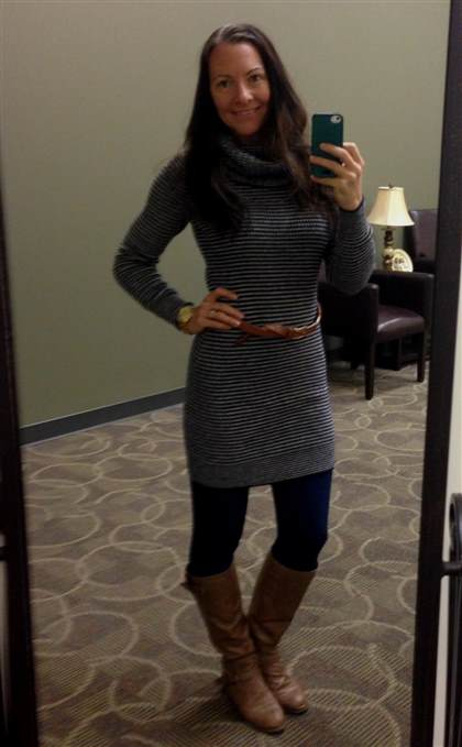 f94b768f05 sweater dress with leggings and brown boots 2017-2018