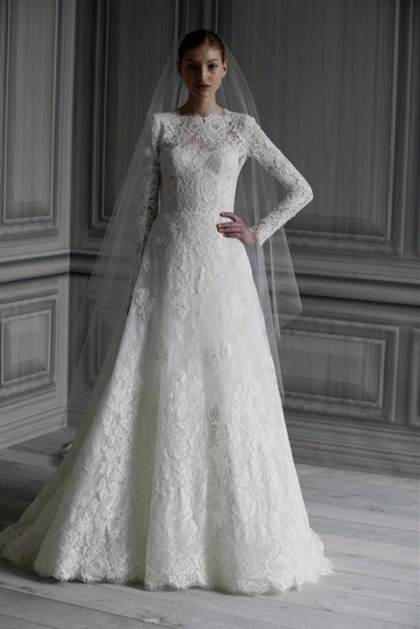 wedding gowns with sleeves and lace 2018