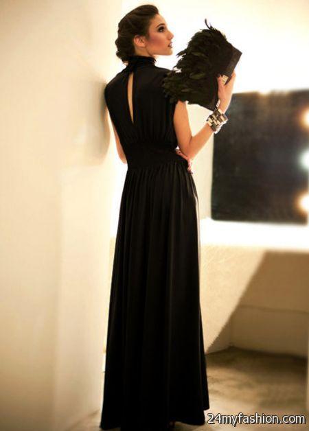 Black cotton maxi dress 2018-2019