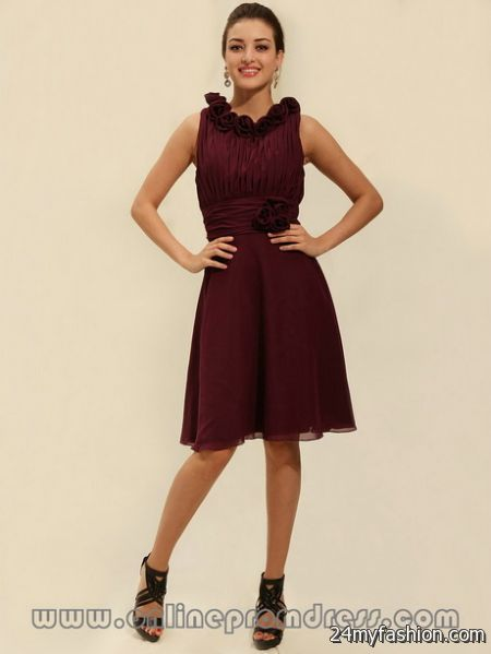Burgundy cocktail dresses 2018-2019