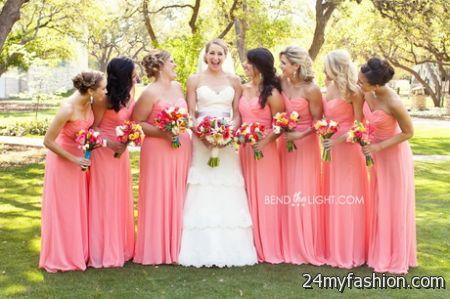 Coral colored bridesmaid dresses 2018-2019
