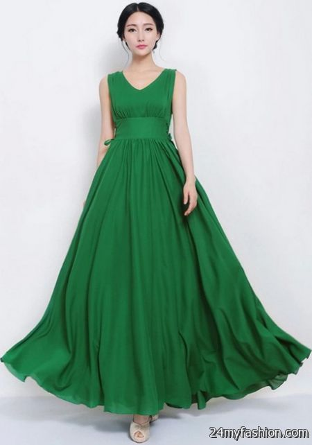 Maxi dresses green 2018-2019