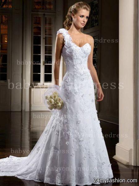 One shoulder lace wedding dress 2018-2019
