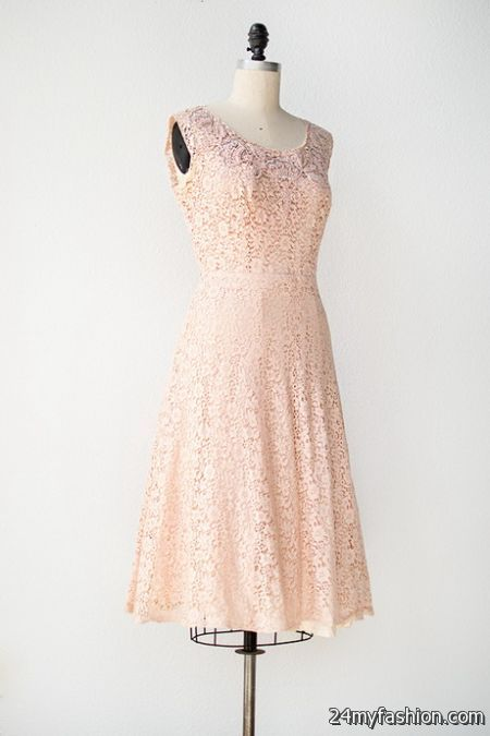 Pale pink lace dress 2018-2019