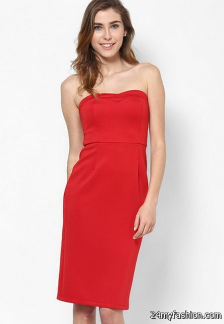 Red bandeau dress 2018-2019