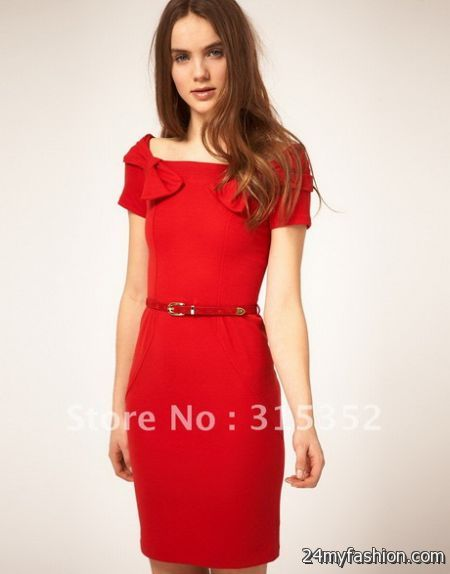 Red dress casual 2018-2019