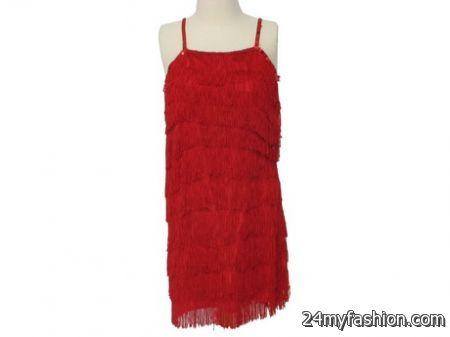 Red fringe dress 2018-2019