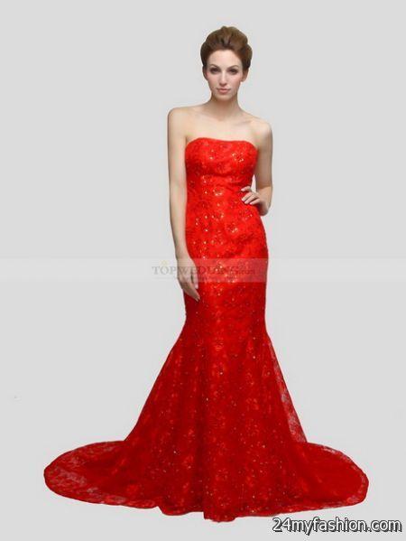 Red mermaid dresses 2018-2019