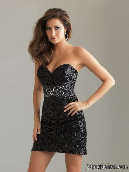 Short black cocktail dress 2018-2019