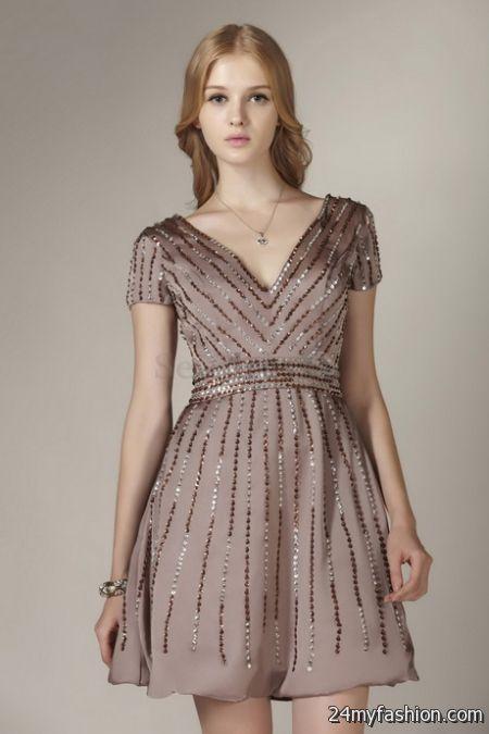Short sleeve cocktail dress 2018-2019