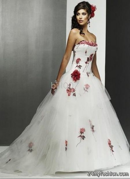 White Wedding Dress With Color Accents - Image Wedding Dress Imagemax.co