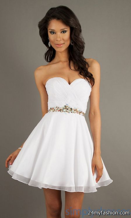 White graduation dresses short 2018-2019