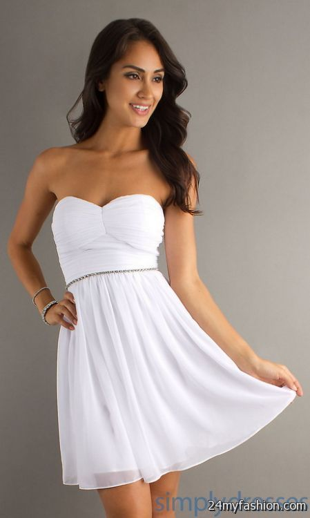 White graduation dresses short 2018-2019