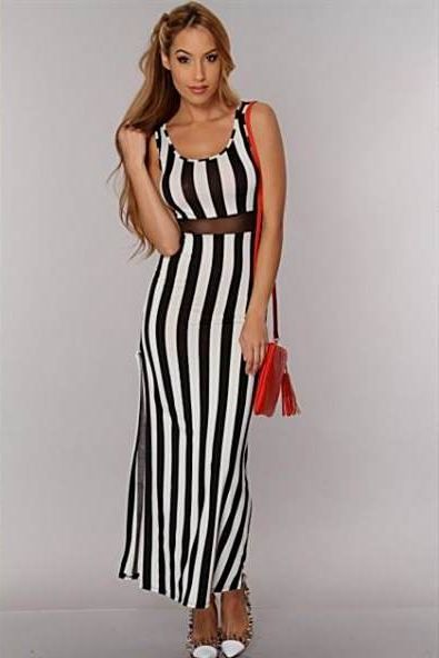 Striped maxi dresses 2018
