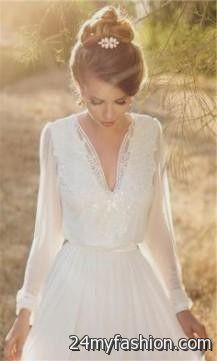 casual winter wedding dresses with sleeves 2018-2019 | B2B Fashion