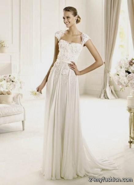 chiffon wedding dresses with cap sleeves 2018-2019