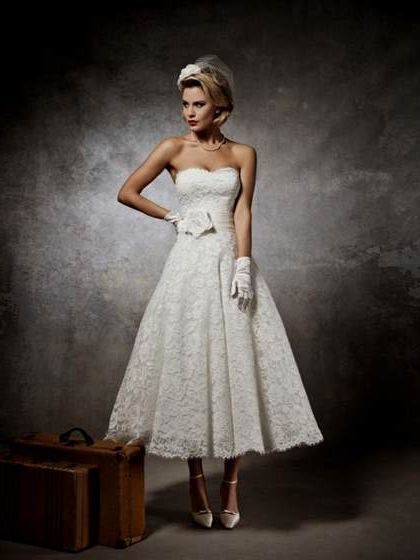 Lace Tea Length Wedding Dress 2018 2019 B2b Fashion