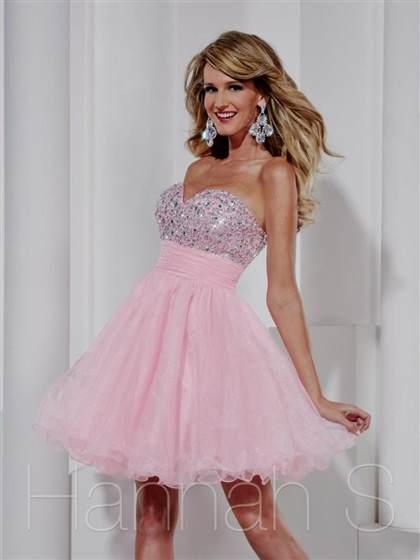 Light Pink Strapless Short Prom Dresses