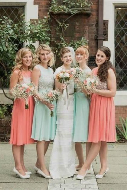 mint and peach bridesm...