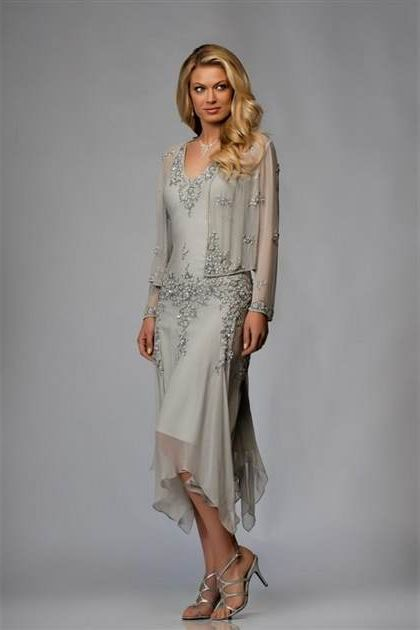 Mother Of The Bride Dresses Tea Length Silver 2018 2019
