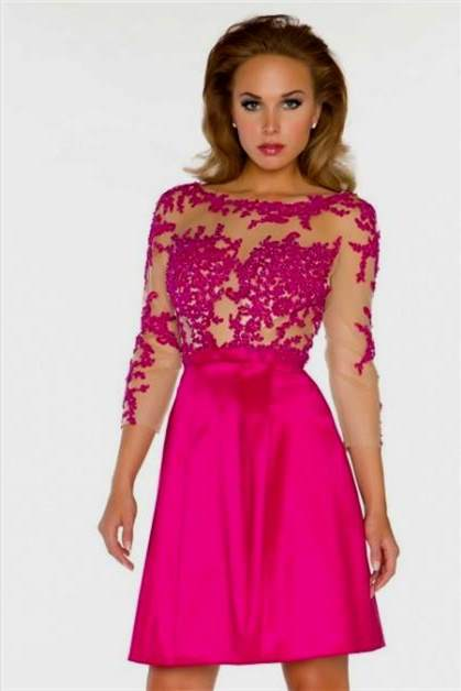 Pink prom dress 2018 with sleeves