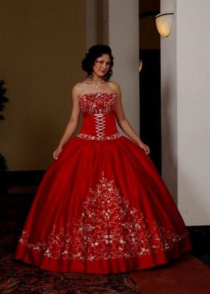 989d0aef3b quinceanera dresses red and black and gold 2018 2019