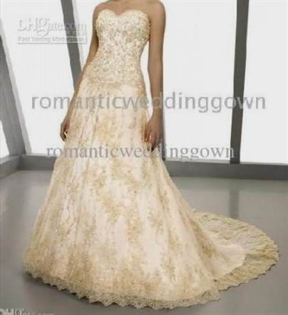 White And Gold Lace Wedding Dress 2018 2019