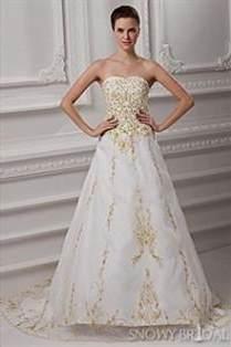 White Wedding Dress With Gold Embroidery 2018 2019 B2b Fashion