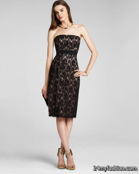 Black lace strapless dress review
