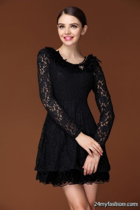 Long sleeved black lace dress review