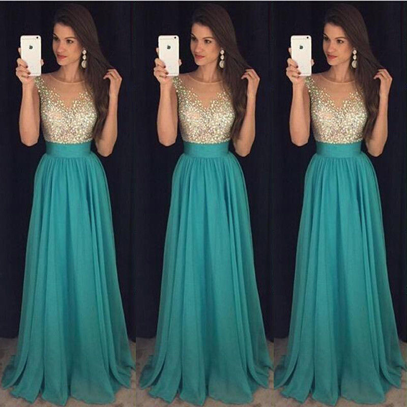 1ad273ef960a Formal Wedding Bridesmaid Long Evening Party Ball Prom Gown Cocktail Maxi  Dress