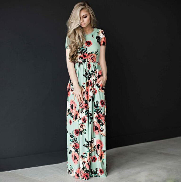 Great Womens Casual Floral Printed Long Maxi Dress Long Sleeve