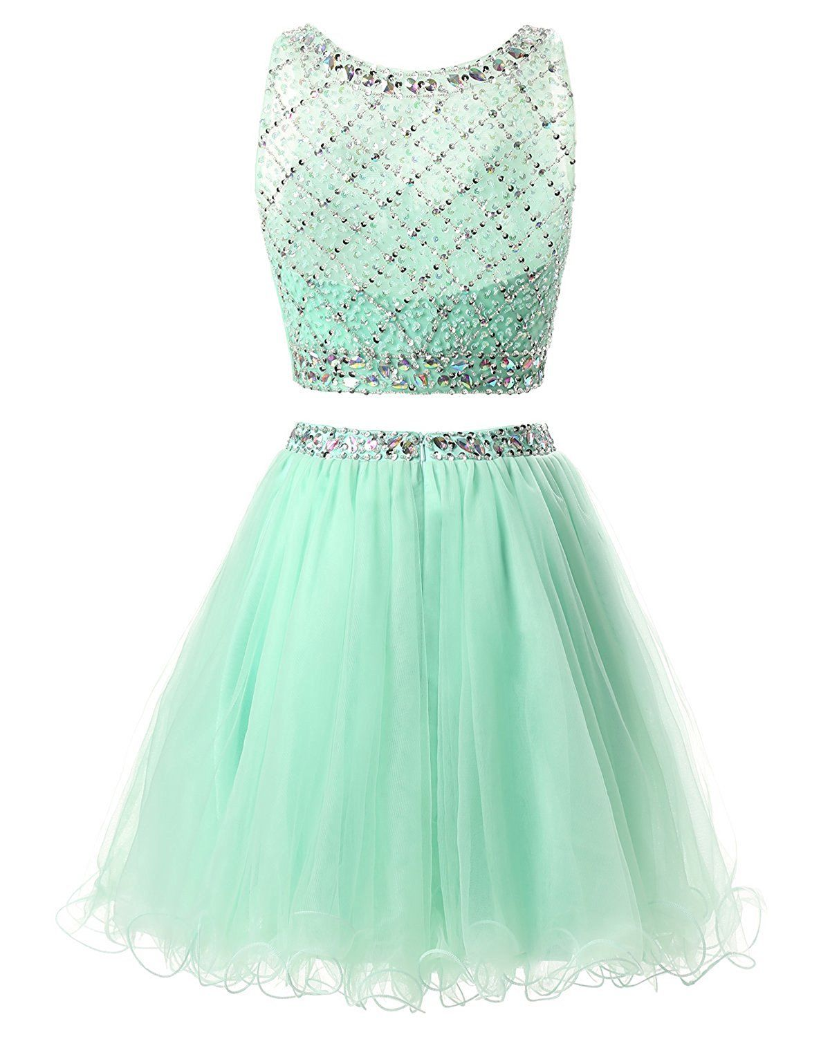Cool US Women's Short Tulle Prom Dress Beaded Two Piece